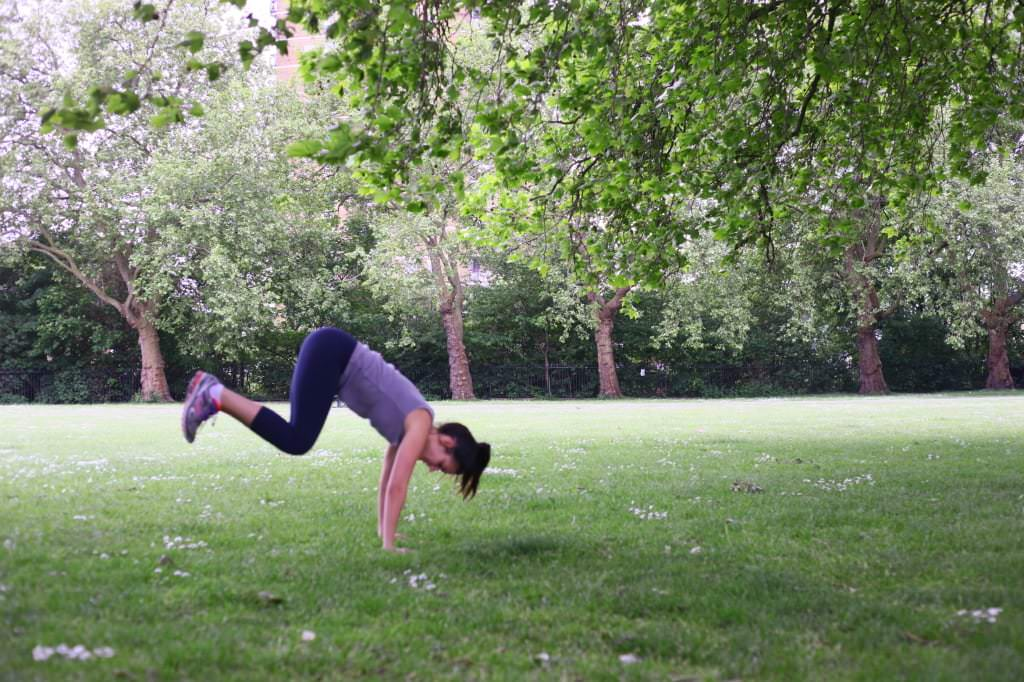 Ashley Hunt demonstrates burpees as a great body weight exercise